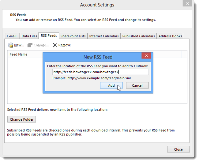 How to Add RSS Feeds to Outlook 2013