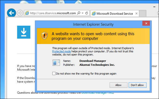 An Internet Explorer security warning