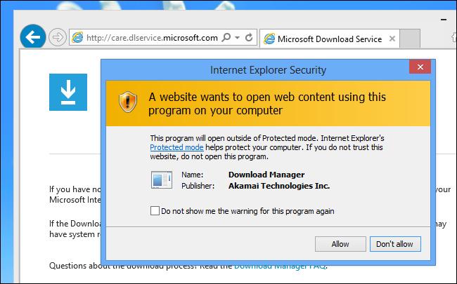 An Internet Explorer security warning