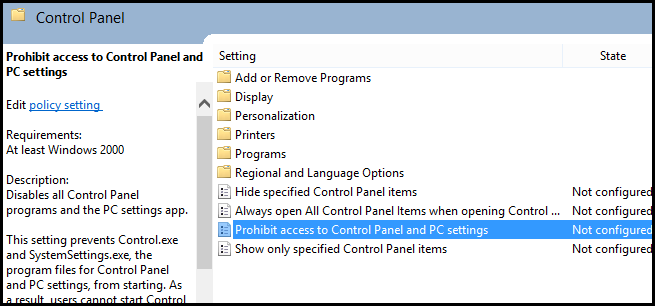 How to Enable or Disable the Control Panel and PC Settings