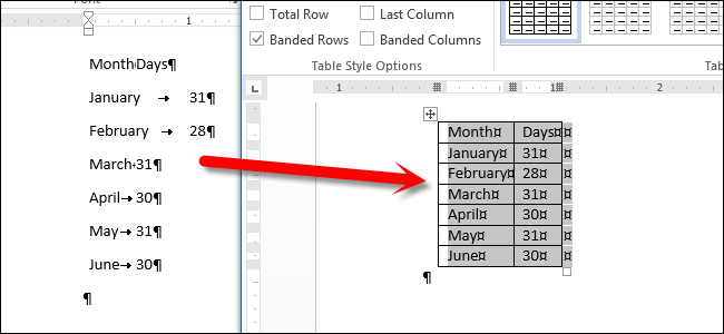 How to Convert Text to a Table and a Table to Text in Word 2013