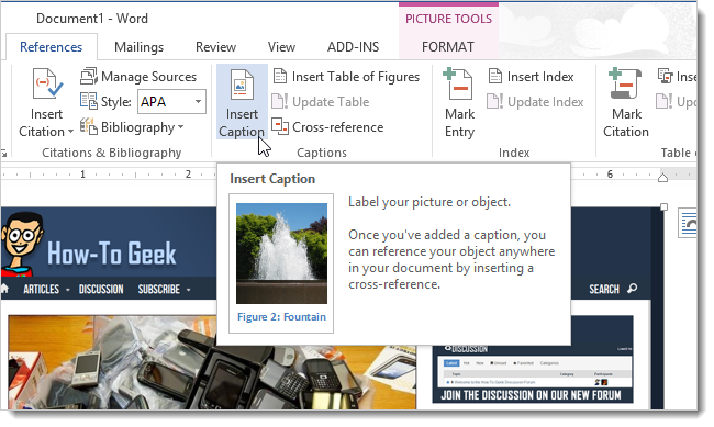 How to add captions to a photo in word