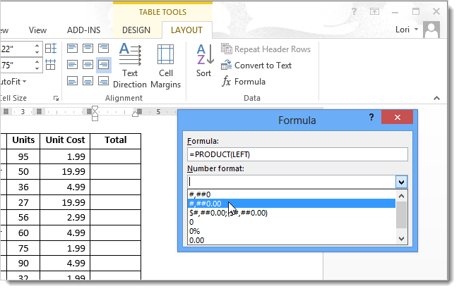 How to total rows and columns in a word 2013 table - How to add a column in a table ...