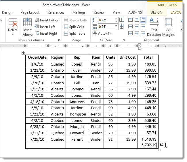 how to change row with column word table