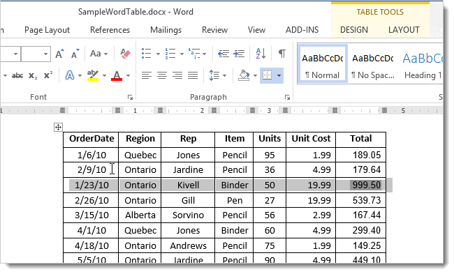 how to change row size in table in word 2013