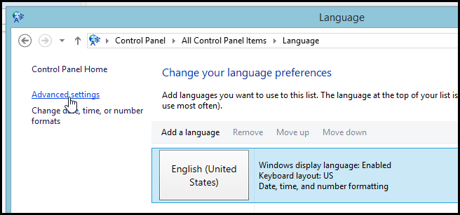 Set Windows 8 to Per-Application Input Language Mode