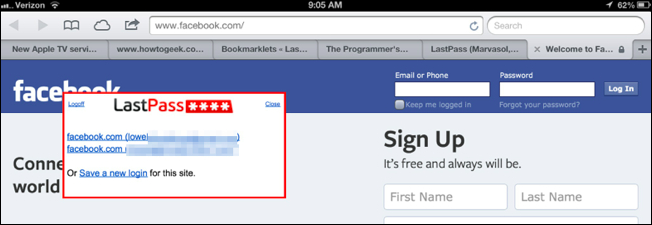 How to Use the LastPass Bookmarklets in Safari on Your iPad