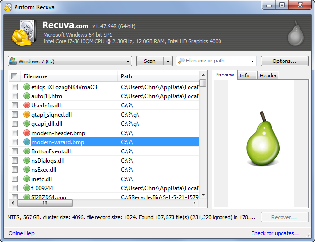 recover a deleted file with recuva