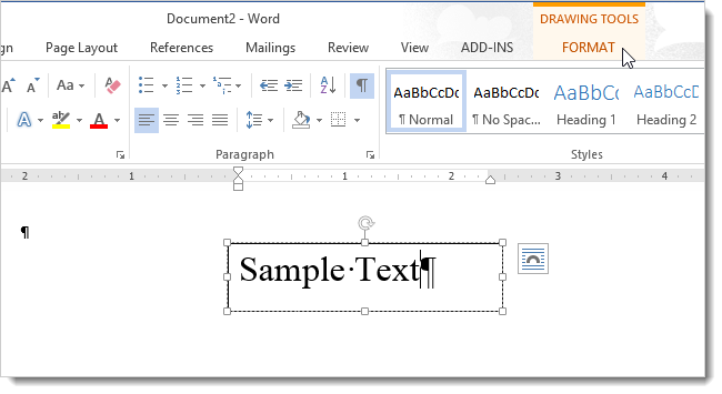 How to change the direction of text in word 2013 01clickingformattab ccuart