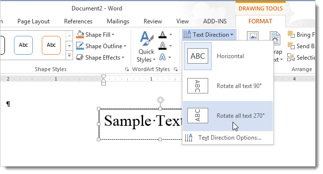 How to change the direction of text in word 2013 02rotatetext270degrees ccuart