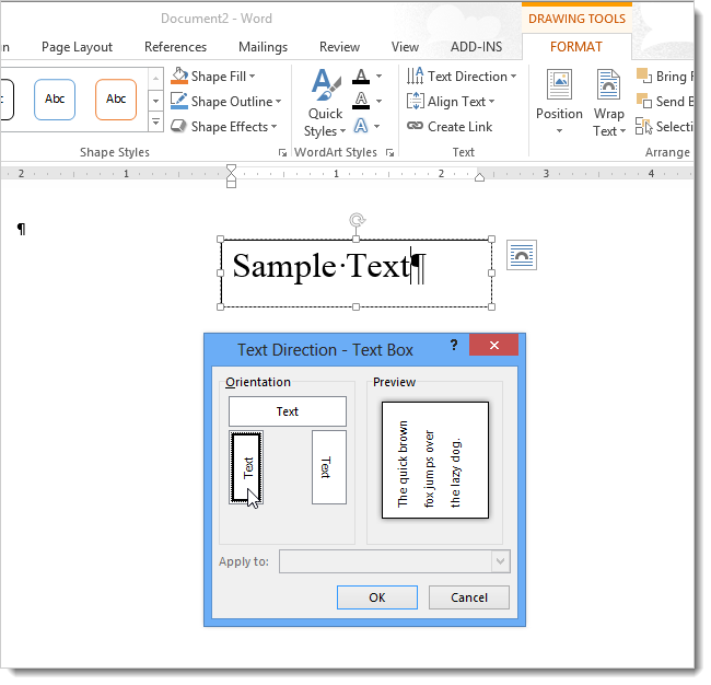 How to change the direction of text in word 2013 05textdirectiondialogforbox ccuart