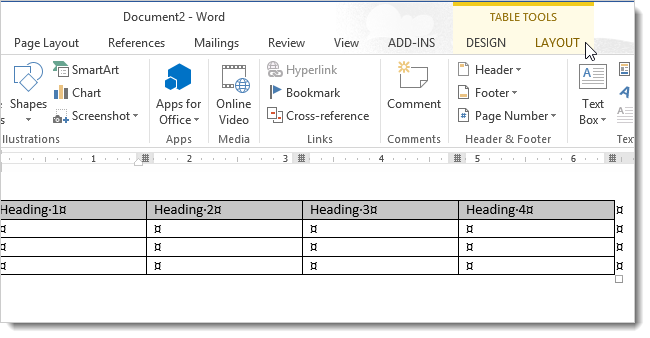 How to change the direction of text in word 2013 for Table th text align