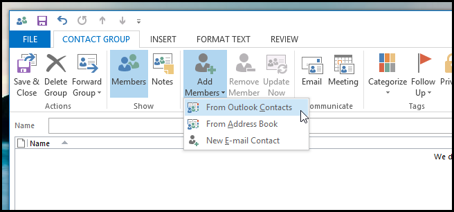 How to Create a Distribution List in Outlook 2013