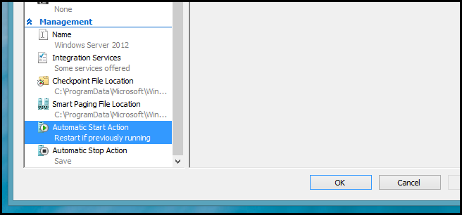 How To Configure Hyper-V Virtual Machine Startup Behavior on Windows 8