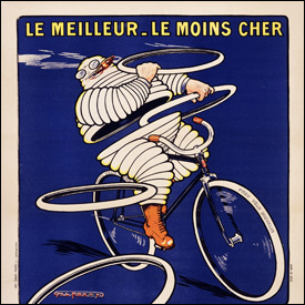An early advertisement featuring the Michelin Man
