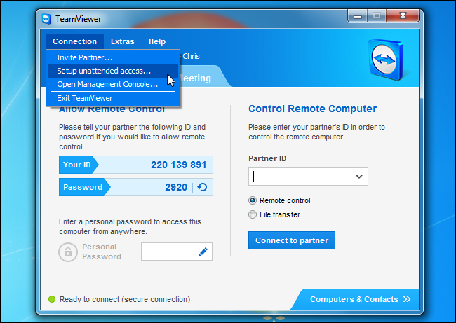 teamviewer-setup-unattended-access