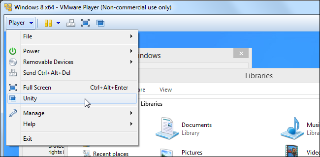 Use VirtualBox's Seamless Mode or VMware's Unity Mode to