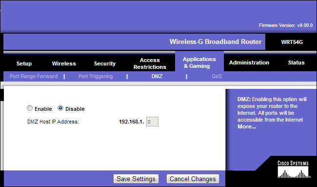 linksys-router-disable-dmz