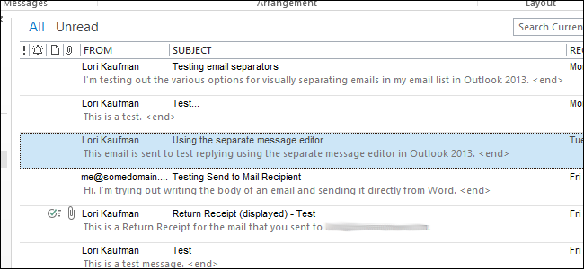 how to show email in outlook
