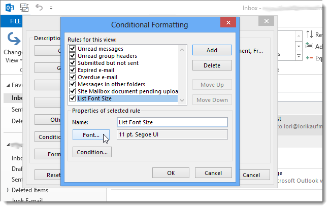how to change default font size for outlook 2007
