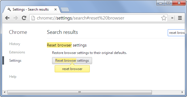 Chrome reset browser settings