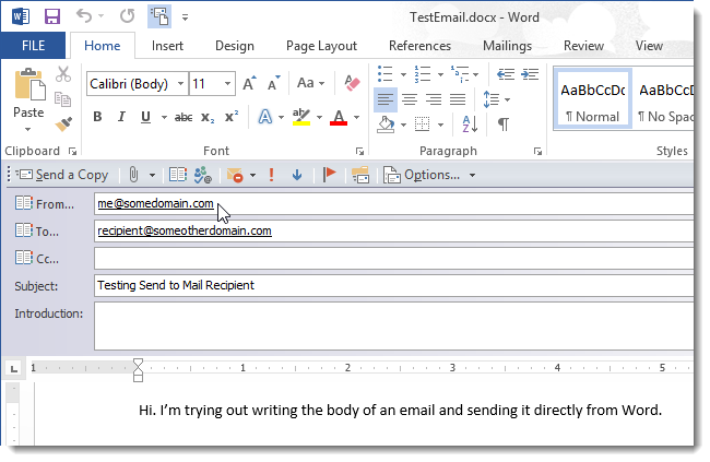 how to send a word document as the body of an email message
