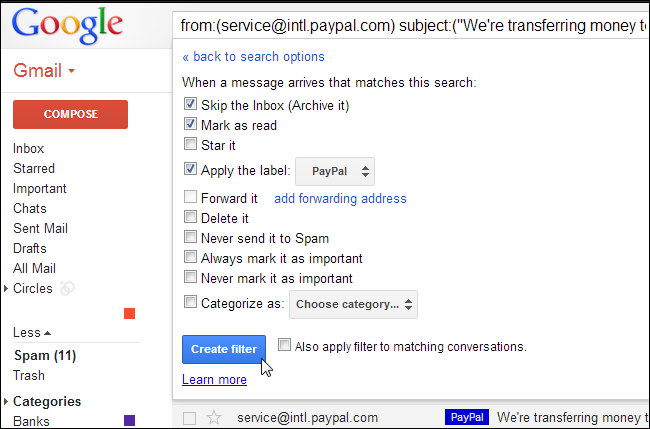 how to make rules in gmail