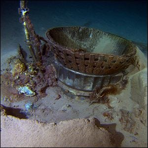Apollo rocket parts on the ocean floor