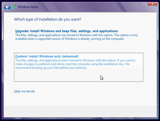 select-custom-installation