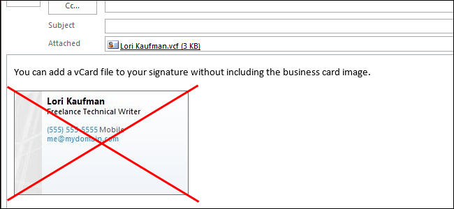 How to add a business card or vcard f file to a signature in how to add a business card or vcard f file to a signature in outlook 2013 without displaying an image reheart Choice Image