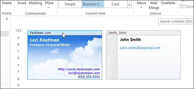 How to apply a business card template to a contact and customize it how to apply a business card template to a contact and customize it in outlook 2013 accmission Images