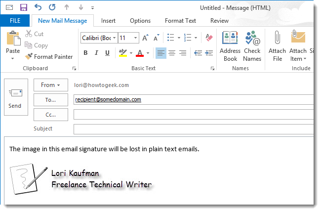 How To Modify A Signature For Use In Plain Text Emails In Outlook 2013