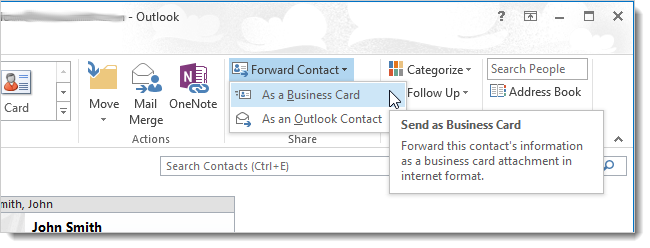How to export multiple contacts in outlook 2013 to multiple vcards 01selectingforwardasbusinesscard reheart Choice Image