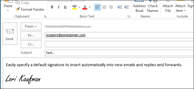 assign signature in outlook