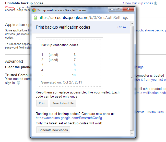 google authenticator backup codes