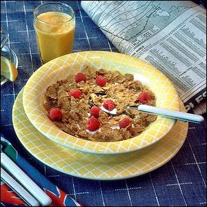 Promotional shot of breakfast cereal with fake glue milk