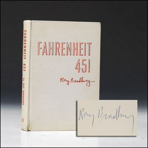 Signed copy of the asbestos cloth copy of Fahrenheit 451