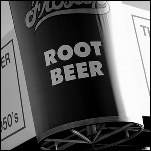 Sign outside a diner advertising root beer