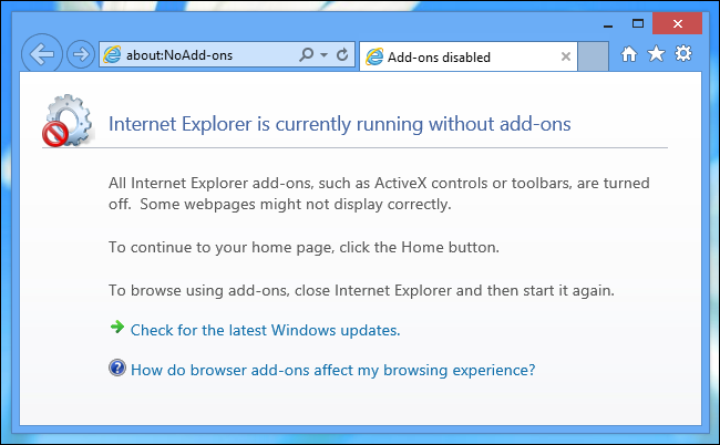 how to fix internet explorer with no add ons