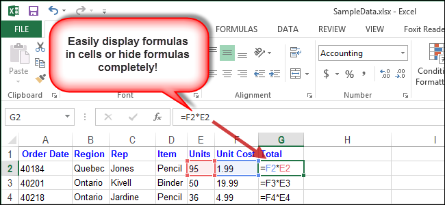 how to show formulas in cells and hide formulas completely in excel 2013. Black Bedroom Furniture Sets. Home Design Ideas