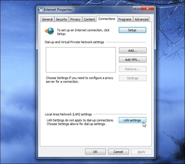 1 internet options lan settings