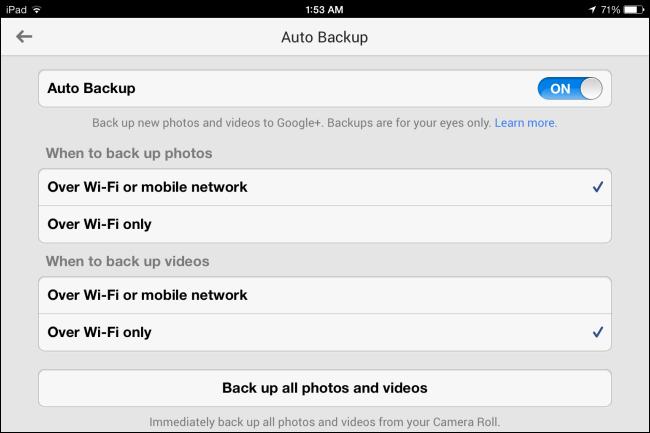 3 google+ auto backup ios