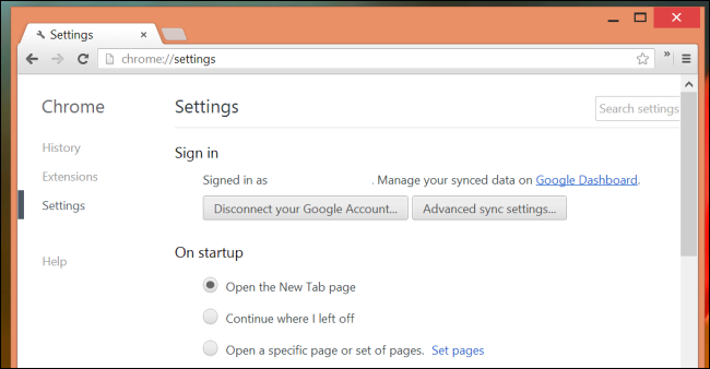 chrome sync options