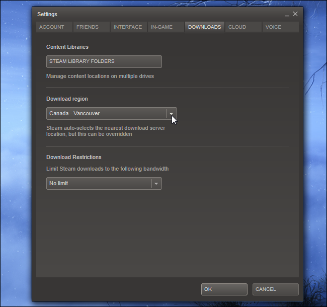 3 choose steam download server