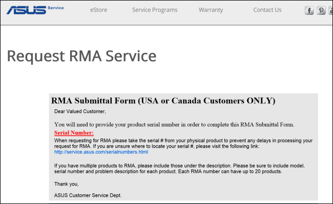 How to rma a defective product for Rma request form template