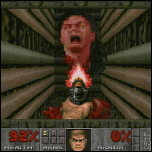 John Romero's head, the final boss of Doom II