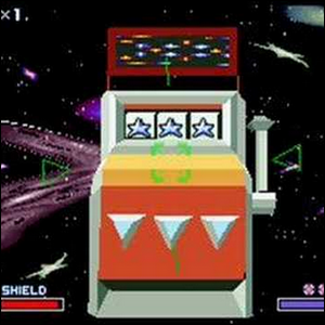 The secret slot machine in the final level of Star Fox