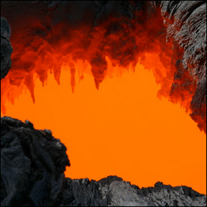 Opening in a volcanic lava flow, showing the hot lava