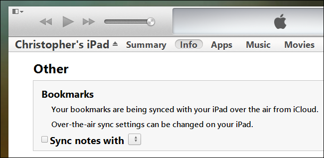 itunes bookmark sync