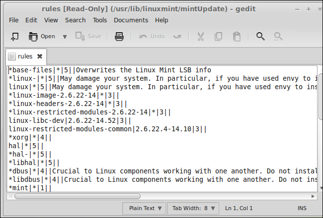 linux-mint-mintupdate-rules